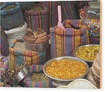 Wood Print featuring the photograph Acco Acre Israel Shuk Market Spices Stripes Bags by Paul Fearn