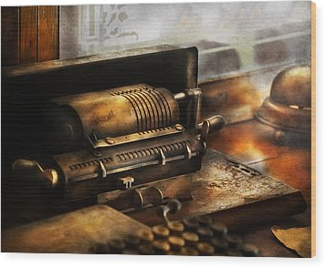 Accountant - The Adding Machine Wood Print by Mike Savad