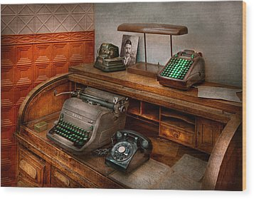 Accountant - Typewriter - The Accountants Office Wood Print by Mike Savad