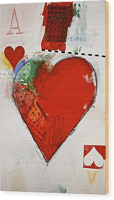 Wood Print featuring the painting Ace Of Hearts 8-52 by Cliff Spohn