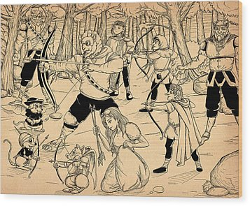 Wood Print featuring the painting Archery In Oxboar by Reynold Jay