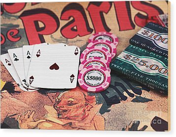 Aces In Paris Wood Print by John Rizzuto