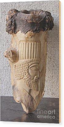 Achaemenian Soldier Relief Sculpture Wood Work Wood Print by Persian Art