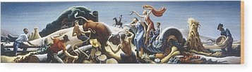 Achelous And Hercules Wood Print by Thomas Benton