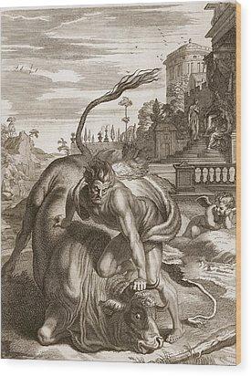 Achelous In The Shape Of A Bull Wood Print by Bernard Picart