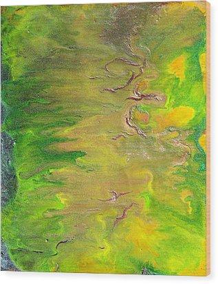 Acid Green Abstract Wood Print by Julia Apostolova