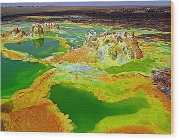 Acid Lakes Of Dallol Volcano Wood Print by Liudmila Di
