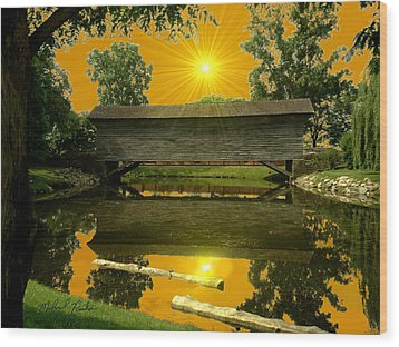 Ackley Covered Bridge Wood Print by Michael Rucker