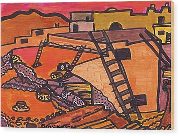 Wood Print featuring the drawing Acoma  by Don Koester