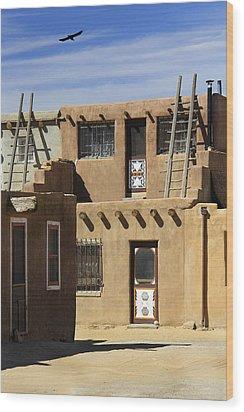 Acoma Pueblo Adobe Homes Wood Print by Mike McGlothlen