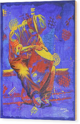 Wood Print featuring the painting Acoustic Blues by Nancy Jolley