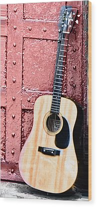 Acoustic Guitar And Red Door Wood Print by Bill Cannon
