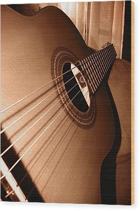 Acoustic Guitar Wood Print by Ester  Rogers