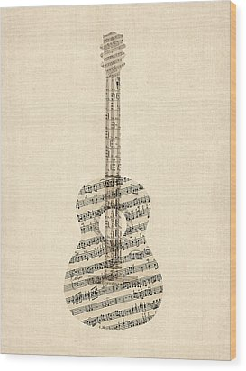 Acoustic Guitar Old Sheet Music Wood Print