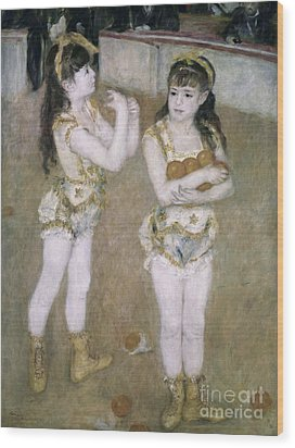 Acrobats At The Cirque Fernand Wood Print by Pierre Auguste Renoir