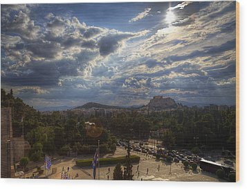 Wood Print featuring the photograph Acropolis From The Kallimarmaro by Micah Goff