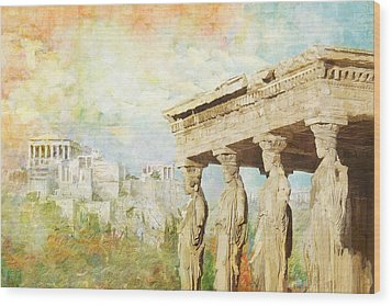 Acropolis Of Athens Wood Print by Catf