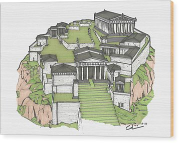 Acropolis Of Athens Restored Wood Print