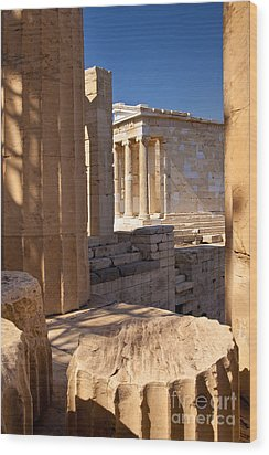 Acropolis Temple Wood Print by Brian Jannsen