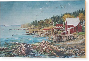 Across The Bridge Wood Print by Joy Nichols