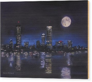 Across The Charles At Night Wood Print by Jack Skinner