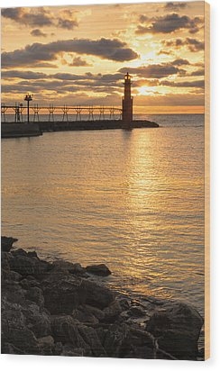 Across The Harbor Wood Print by Bill Pevlor