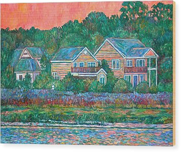 Wood Print featuring the painting Across The Marsh At Pawleys Island       by Kendall Kessler