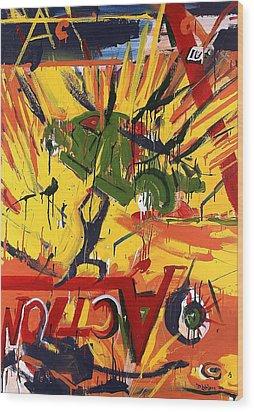 Action Abstraction No. 1 Wood Print by David Leblanc
