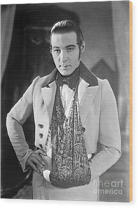 Actor Rudolph Valentino 1925 Wood Print by Padre Art