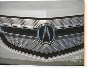Acura Grill Emblem Close Up Wood Print by David Zanzinger