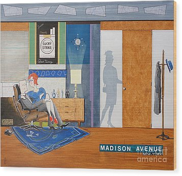 Ad Man Sitting In An Eames With Girl Friday Wood Print by John Lyes