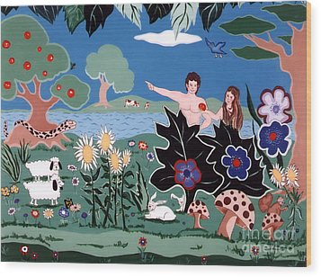 Wood Print featuring the painting Adam And Eve by Joyce Gebauer