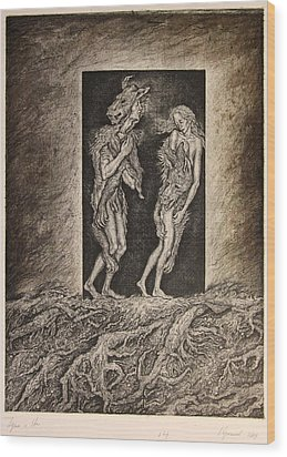 Adam And Eve Wood Print by Leonid Stroganov