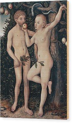 Adam And Eve Wood Print by Lucas Cranach Elder