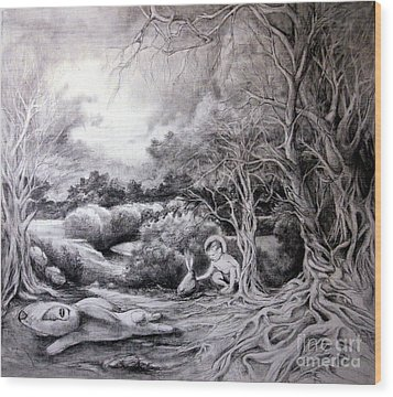 Adam In Heaven Wood Print by Mikhail Savchenko