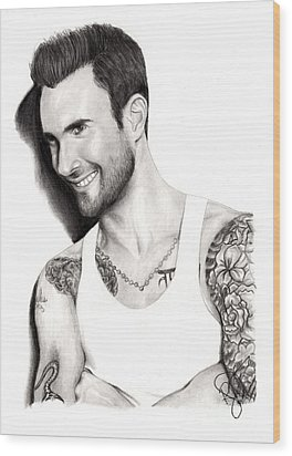 Adam Levine Wood Print by Rosalinda Markle
