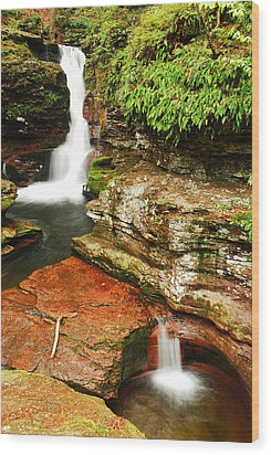 Wood Print featuring the photograph Adams Falls by James Kirkikis