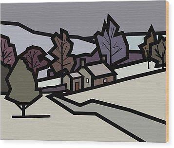 Adam's Farm In Winter Wood Print by Kenneth North