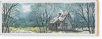 Wood Print featuring the mixed media Adams Ranch Headquarters King County Texas by Tim Oliver