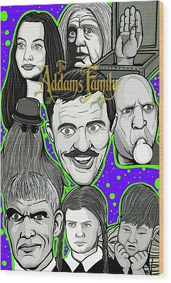 Addams Family Portrait Wood Print by Gary Niles