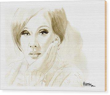 Adele Wood Print by David Iglesias