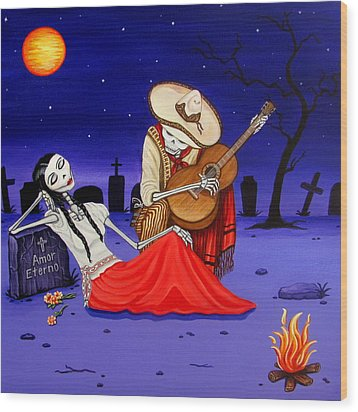 Wood Print featuring the painting Adelita Y Juan Cementery by Evangelina Portillo