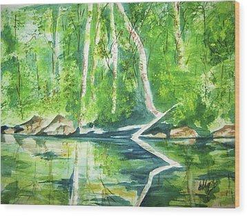 Adirondack Zen Wood Print by Ellen Levinson