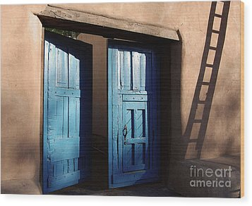 Adobe Blues Wood Print by Gina Savage