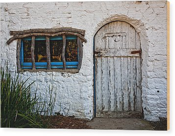 Adobe Door And Window Wood Print by Peter Tellone