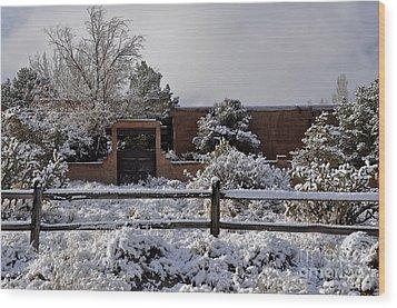 Adobe Snow Wood Print by Gina Savage