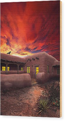 Adobe Sunset Wood Print by Ric Soulen