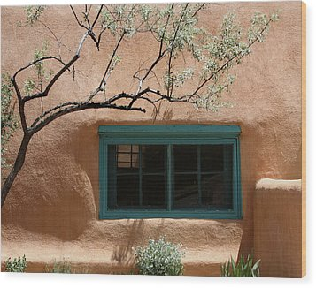 Adobe Window In Green Wood Print