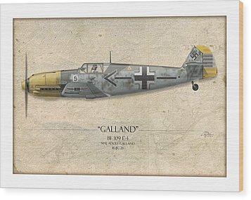 Adolf Galland Messerschmitt Bf-109 - Map Background Wood Print by Craig Tinder