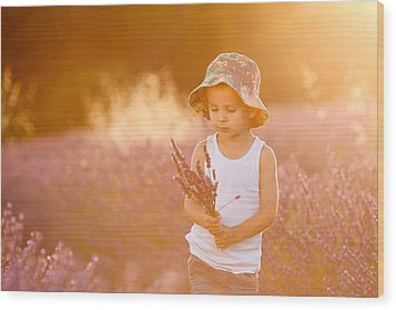 Adorable Cute Boy With A Hat In A Lavender Field Wood Print by Tatyana Tomsickova